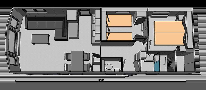 Chalet type Monaco plattegrond basisindeling