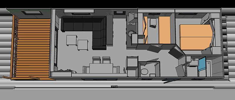 Chalet Special met veranda plattegrond Milano Lodge